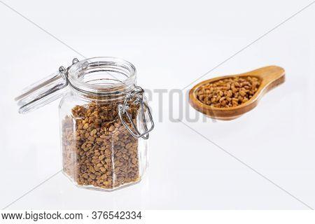 Dried Fenugreek Seeds In The Jar - Trigonella Foenum-graecum