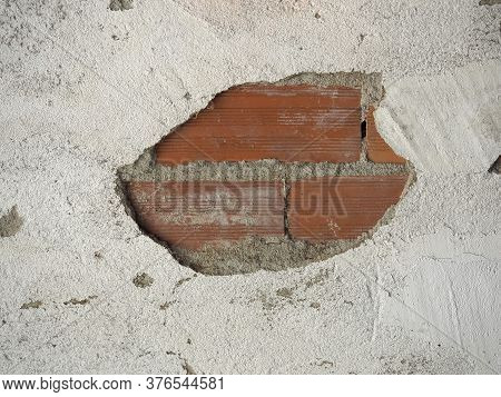 Peeled Plaster Detached From A Wall
