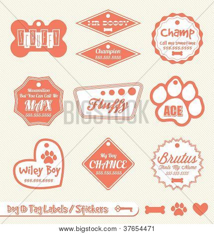 Vector Set: Vintage Dog Tag Labels and Stickers