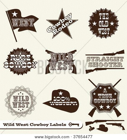 Vector Set: Vintage Cowboy Western Labels and Stickers