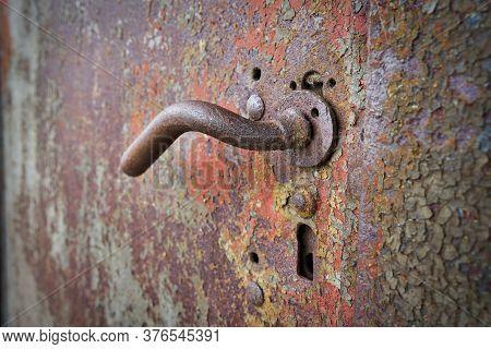 Door Handle On An Old Metal Door In The Port Of Magdeburg