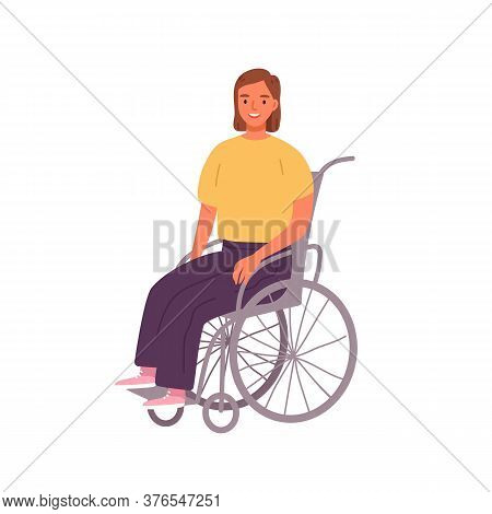 Smiling Woman Sitting In Wheelchair Vector Illustration. Cute Happy Girl With Physical Disability Or