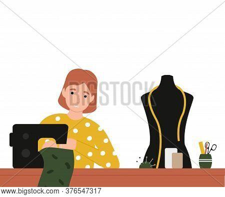 Girl Seamstress At A Sewing Machine Sews Clothes. Flat Vector Cartoon Modern Illustration.