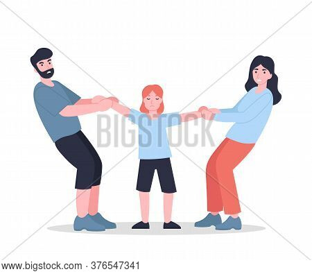 Mother And Father Share Child. Parents Divided Kid. Family Conflict. Quarrel Between Husband And Wif