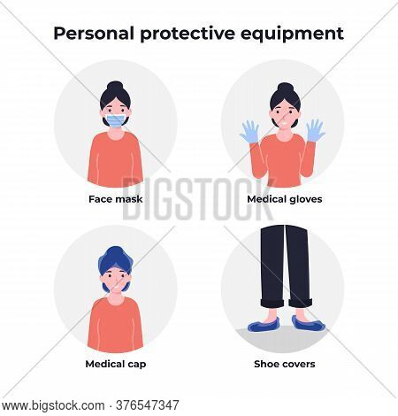 Personal Protective Equipment, Ppe, Face Mask, Medical Cap And Gloves, Shoe Covers. Coronavirus Prev