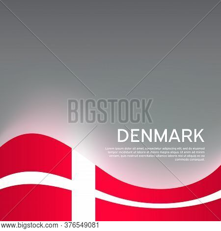 Flag Of Denmark On A Wavy Glossy Background. National Poster Design. State Danish Patriotic Banner,