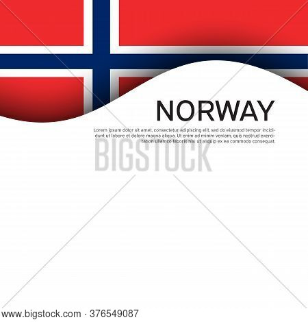 Norway Flag On A White Wavy Background. Business Booklet. State Norwegian Patriotic Banner, Flyer. N