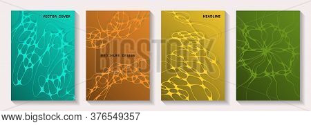 Biotechnology And Neuroscience Vector Covers With Neuron Cells Structure. Doodle Waves Grid Backgrou