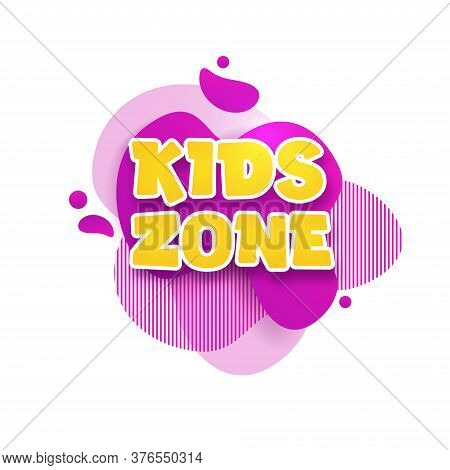 Kids Zone Vector Cartoon Banner. Colorful Letters For Childrens Playroom Decoration. Sign For Childr