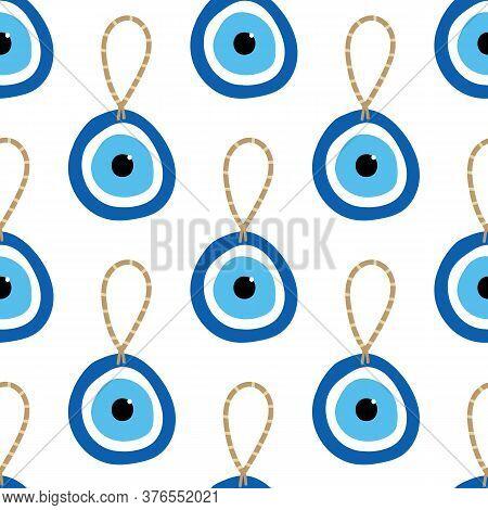 Nazar Amulet, Blue Evil Eye Protection Talisman Seamless Pattern Background.