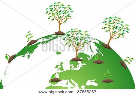 Green Day Concept, the big tree on the earth poster