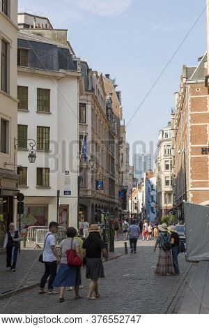Brussels, Belgium - July 04, 2018: View To The Street In The Center Of Brussels