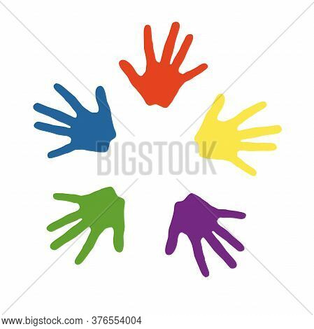 Colored Children S Hands, Hand Prints, Background, For Advertising Art Studios, Early Development Of