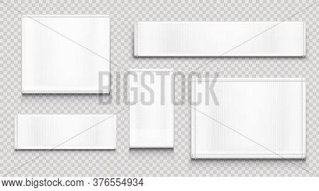 White Fabric Tags Different Shapes Isolated On Transparent Background. Vector Realistic Mockup Of Bl