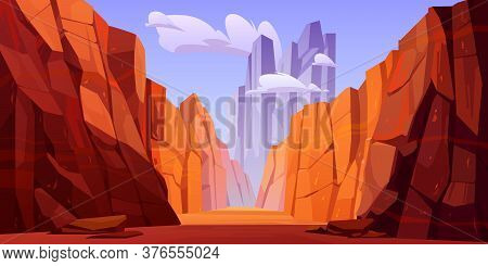 Grand Canyon With Road On Bottom, National Park Of Arizona Colorado State. Red Sandstone Mountains,