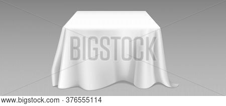 White Tablecloth On Square Table. Vector Realistic Mockup Of Empty Dining Desk With Blank Linen Clot