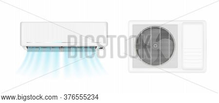 Air Conditioner Handing On Wall And Conditioning Ventilator On Window. Vector Realistic Mockup Of Sp