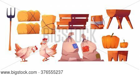 Chickens, Straw, Bags With Harvest And Fork Isolated On White Background. Vector Cartoon Set Of Farm
