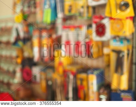 Blurry Pictures Of Shelves In A Hardware Store.advertising Sales Concept.
