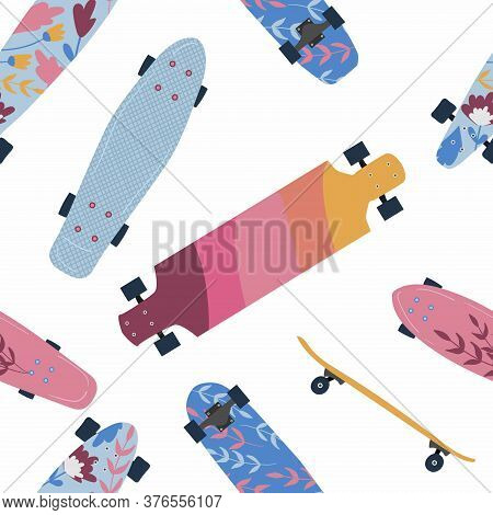 Skateboard Pattern With Vector Different Skate Decks In Flat Design. Skateboarding Seamless Backgrou