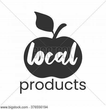Local Products Logo. Apple Simple Stamp. Typographic Eco Farm Insignia In Monochrome Style. Simbol W