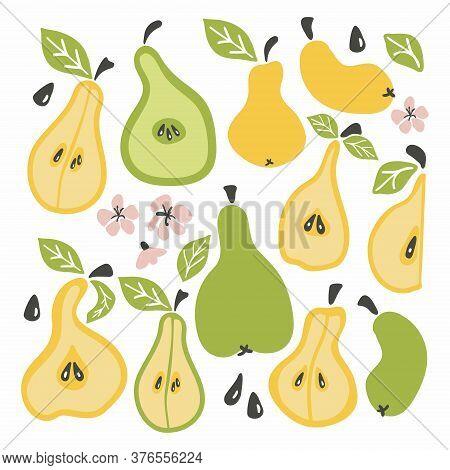 Pear Set. Fruit Whole Chopped Half Quarter Cut Slices Pear Leaves. Cartoon Doodle Collection. Hand D