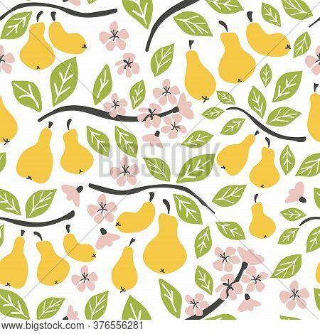 Pear Seamless Pattern. Pear On Brunch, Fruit Flowers. Summer Background. Wallpaper Or Print, Packagi