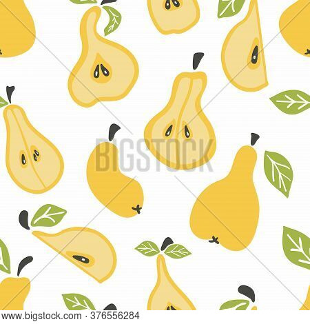 Pear Seamless Pattern. Pear On Fruit Leaves. Summer Background. Wallpaper, Print, Packaging, Paper,