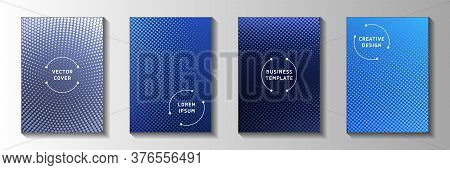 Abstract Dot Faded Screen Tone Title Page Templates Vector Collection. Geometric Magazine Perforated