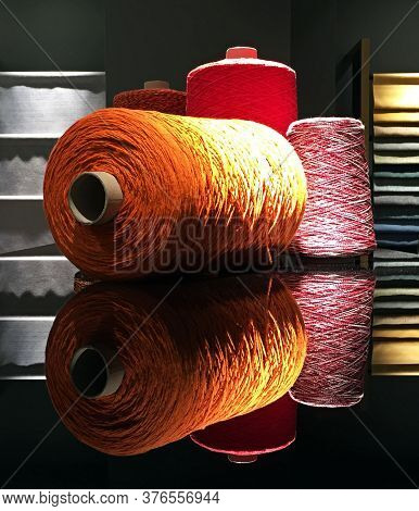 Wool Bobbin Of Different Colors And Size.