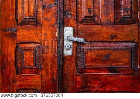 Door Knob On A Wooden Door, Wooden Door With Lock And Knocker, Old Wood