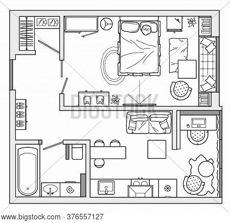 Architectural Set Of Furniture. Design Elements For Floor Plan, Premises. Thin Lines Icons Of Home E
