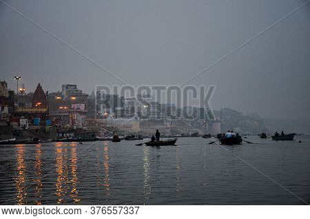 Varanasi, India - Dec 23, 2019: Morning View Of The Ghats And The City Of Varanasi From Ganges River