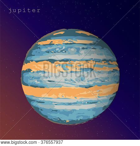 Jupiter Planet View From Space Dark Yellow Purple Background. Vector Illustration For Astronomy Astr