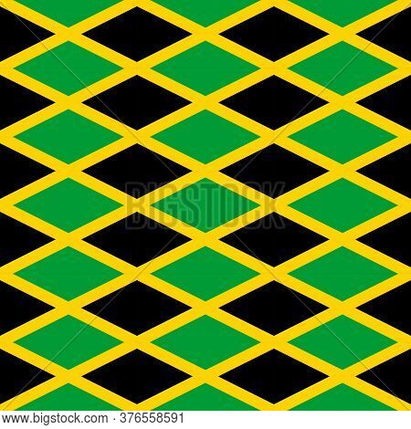 Seamless Pattern On The Theme Of Jamaica Independence Day On August 6. Decorated With A Jamaica Flag