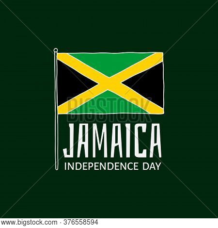 Vector Illustration On The Theme Of Jamaica Independence Day On August 6. Decorated With A Jamaica F