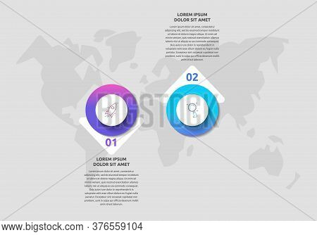 Infographics With 2 Circles And Arrows. Modern Vector Template. Can Be Used For Two Diagrams, Busine