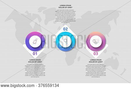 Infographics With 3 Circles And Arrows. Modern Vector Template. Can Be Used For Three Diagrams, Web,