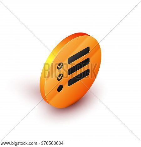 Isometric Task List Icon Isolated On White Background. Control List Symbol. Survey Poll Or Questionn