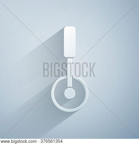 Paper Cut Pizza Knife Icon Isolated On Grey Background. Pizza Cutter Sign. Steel Kitchenware Equipme