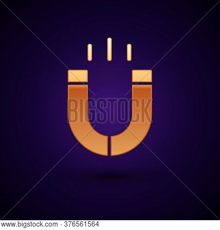 Gold Magnet Icon Isolated On Black Background. Horseshoe Magnet, Magnetism, Magnetize, Attraction. V