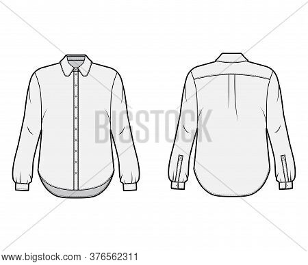 Classic Shirt Technical Fashion Illustration With Button Down Front Opening, Round Collar, Long Slee