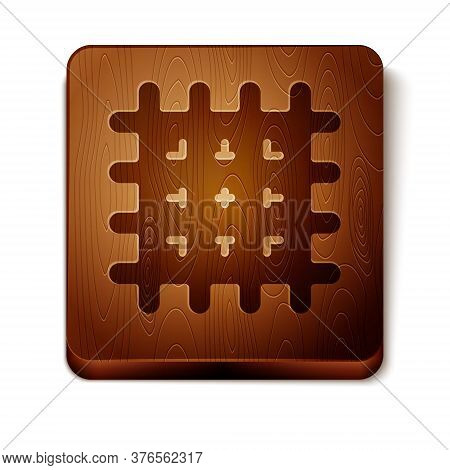 Brown Cracker Biscuit Icon Isolated On White Background. Sweet Cookie. Wooden Square Button. Vector