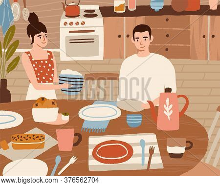 Smiling Woman Serving Dining Table Vector Flat Illustration. Happy Couple Eating Together At Home Ki
