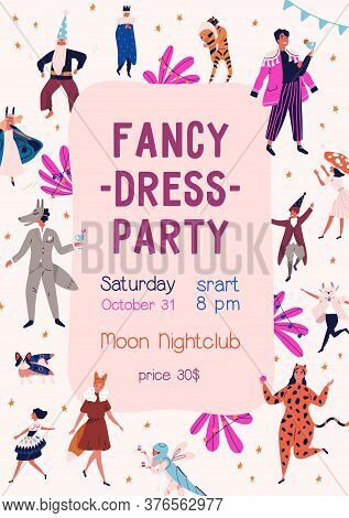 Announcement Of Fancy Dress Party At Nightclub Vector Flat Illustration. Promo Poster Of Carnival Wi