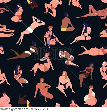 Seamless Pattern Of Multiracial Body Positive People Dressed In Beachwear. Pregnant, Tattoo, Dark Sk