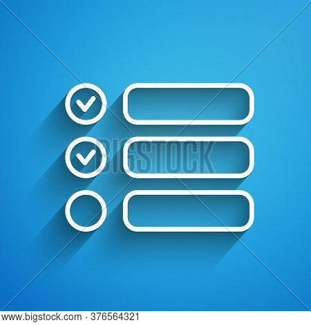 White Line Task List Icon Isolated On Blue Background. Control List Symbol. Survey Poll Or Questionn