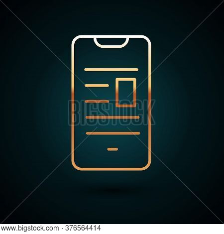 Gold Line Online Book On Mobile Icon Isolated On Dark Blue Background. Internet Education Concept, E