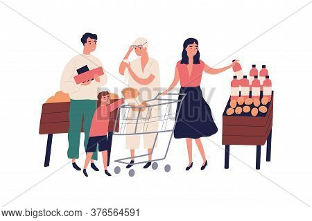 Big Family At Grocery Supermarket Choose Food Products, Purchase Together. Retired Grandmother With