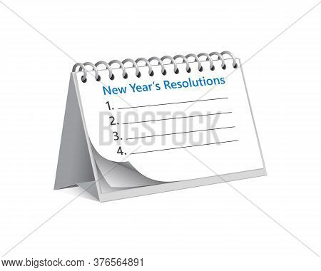 Flip Calendar With Tasks And Resolutions That Should Start To Do With New Year. Sheet With Goals Tha